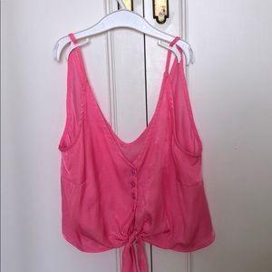 Re:named tie front hot pink crop top